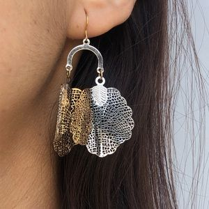 Anthropologie leaves chandelier statement earrings